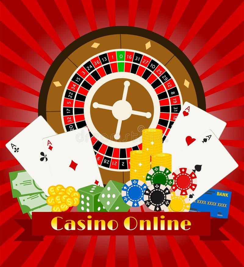 Иллюстрация вектора знамени казино онлайн Включает рулетку, обломоки казино, игральные карты, выигрывая деньги Мешок денег бесплатная иллюстрация