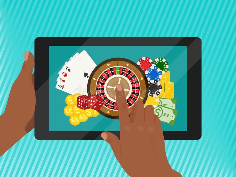 Иллюстрация вектора знамени казино онлайн Включает рулетку, обломоки казино, игральные карты, выигрывая деньги Кость, наличные де иллюстрация штока
