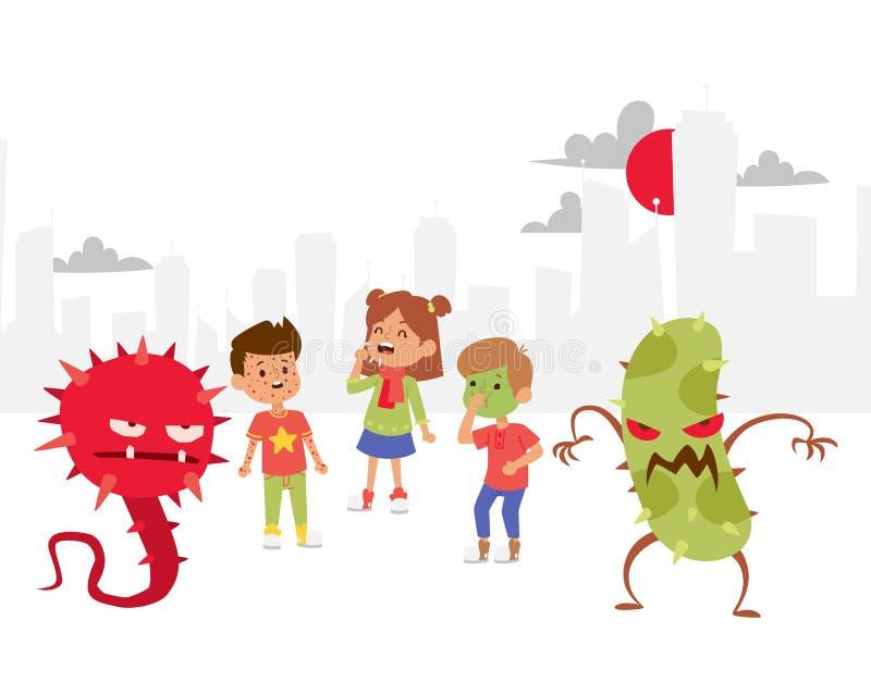 Иллюстрация вектора знамени микробов установленная Собрание вирусов мультфильма Плохие микроорганизмы для детей Различный иллюстрация штока