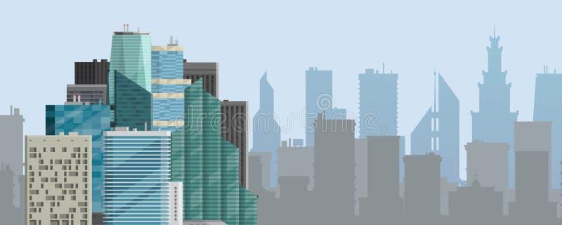 Иллюстрация вектора знамени предпосылки города горизонтальная Современный горизонт городка Архитектурноакустическое здание в пано иллюстрация штока