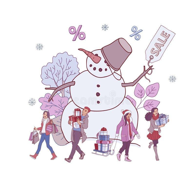 Иллюстрация вектора знамя скидок праздника рождества и Нового Года с большими снеговиком и людьми с подарками иллюстрация штока