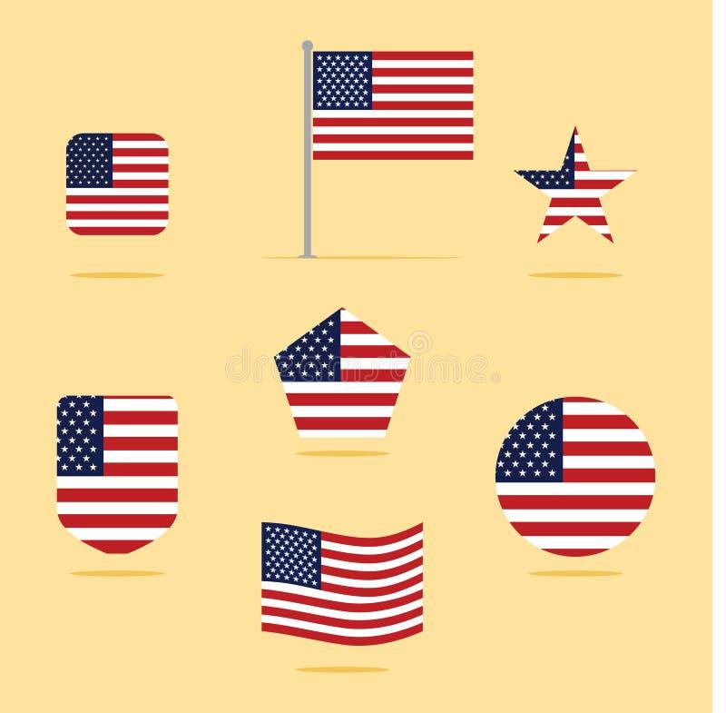 Иллюстрация вектора значка американского флага установленная иллюстрация вектора