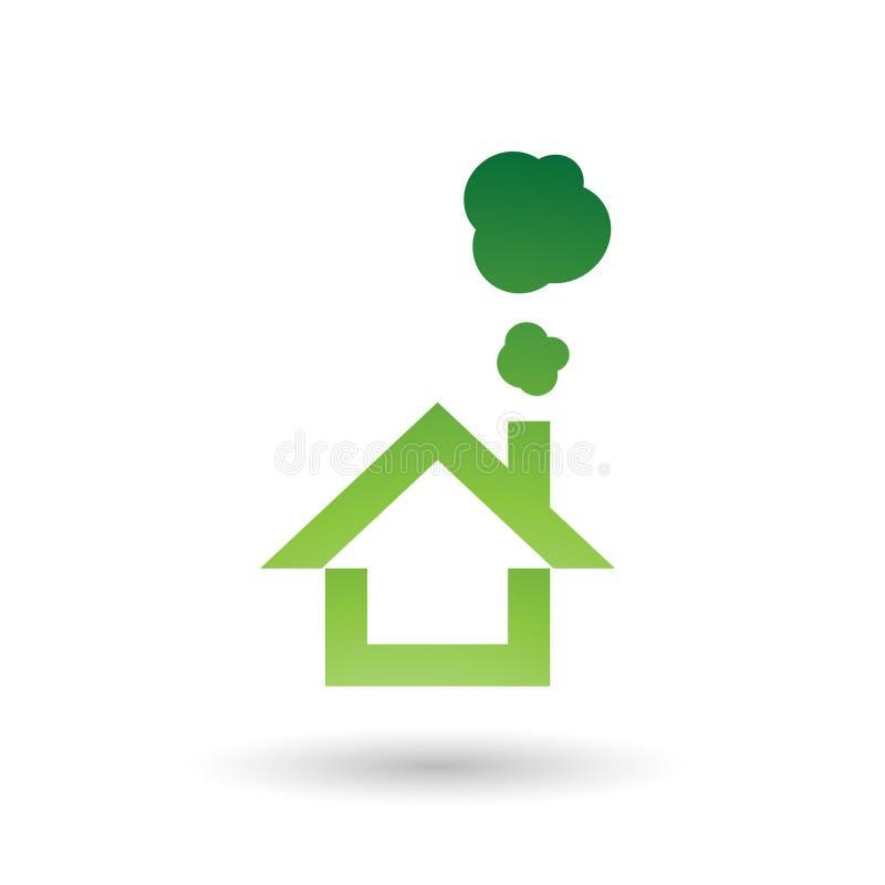 Иллюстрация вектора значка зеленого дома и дыма иллюстрация штока
