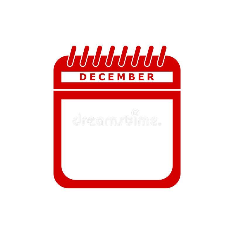 Иллюстрация вектора значка красного календаря плоская - декабрь иллюстрация вектора