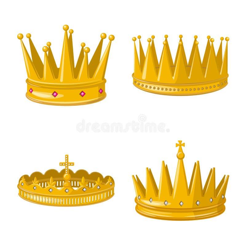 Иллюстрация вектора значка монархии и золота Установите монархии и heraldic значка вектора для запаса иллюстрация штока