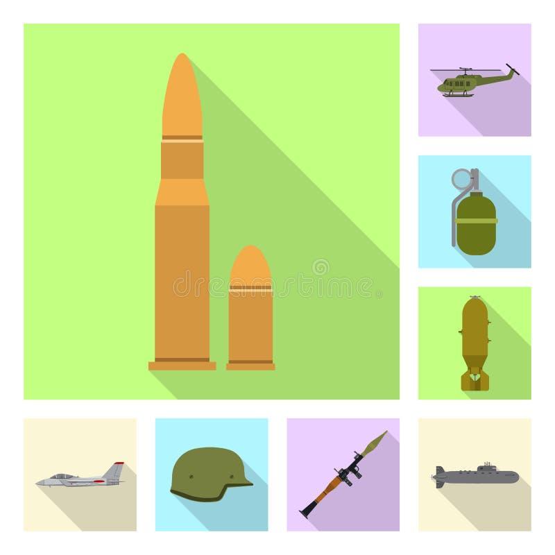 Иллюстрация вектора значка оружия и оружия Комплект значка вектора оружия и армии для запаса иллюстрация штока