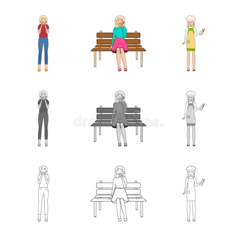 Иллюстрация вектора значка позиции и настроения Собрание позиции и женский значок вектора для запаса иллюстрация вектора