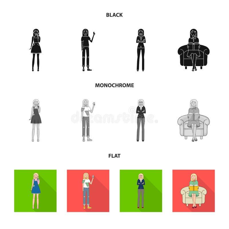 Иллюстрация вектора значка позиции и настроения Собрание позиции и женской иллюстрации вектора запаса иллюстрация штока