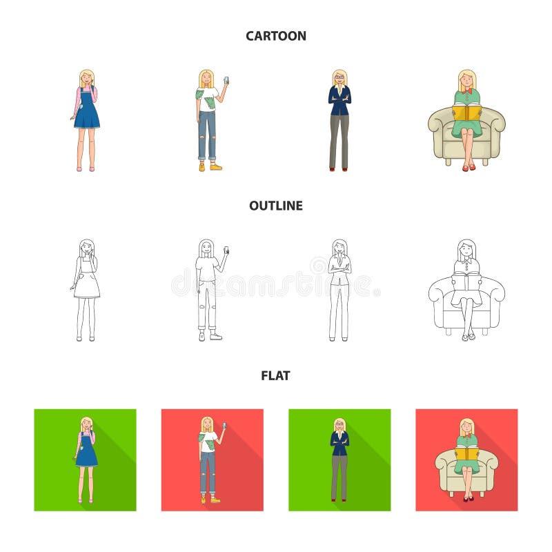 Иллюстрация вектора значка позиции и настроения Собрание позиции и женской иллюстрации вектора запаса иллюстрация вектора