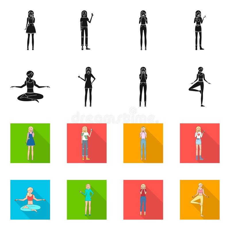 Иллюстрация вектора значка позиции и настроения Установите позиции и женского значка вектора для запаса бесплатная иллюстрация