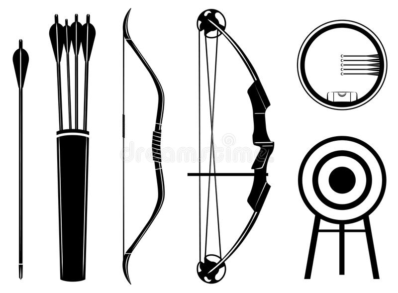 Иллюстрация вектора значка смычка установленная Смычок, стрелка, визирование, колчан, цель, бесплатная иллюстрация