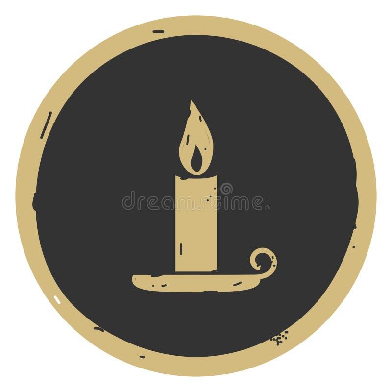 Иллюстрация вектора значка хеллоуина свечи на серой предпосылке иллюстрация вектора