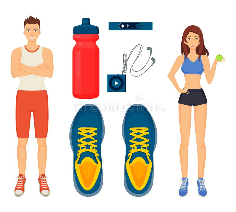 Иллюстрация вектора значков спорта женщины и человека установленная иллюстрация вектора
