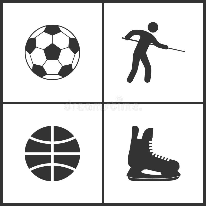 Иллюстрация вектора значков спорта установленных Элементы шарика футбола, шарика игрока бассейна, баскетбола и конька льда значок иллюстрация штока