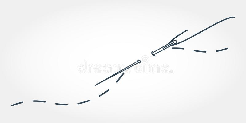 Иллюстрация вектора иглы с потоком Stylization вышивки с стежками иллюстрация штока