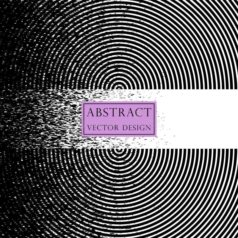 Иллюстрация вектора излучать, концентрические круги Знамя, психоделический, monochrome стиль иллюстрация штока