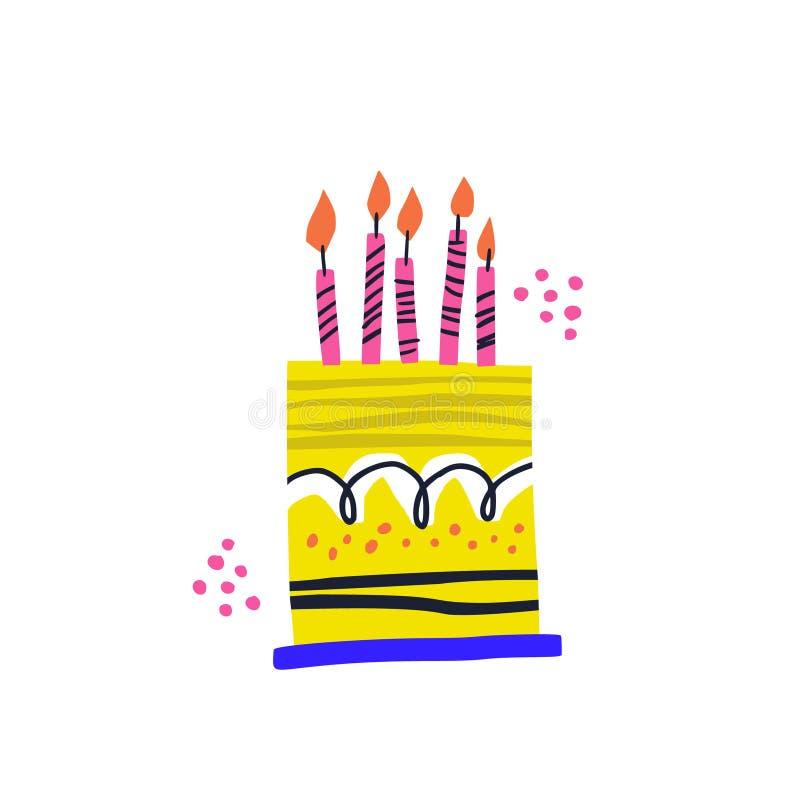 Иллюстрация вектора именниного пирога handdrawn иллюстрация вектора
