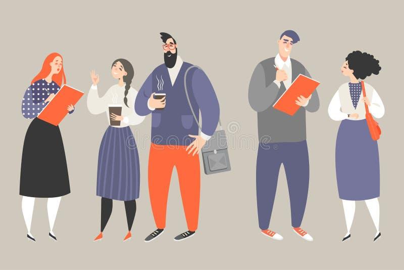 Иллюстрация вектора исследований в области маркетинга с молодыми людьми держа вопросник и спрашивая вопросы бесплатная иллюстрация