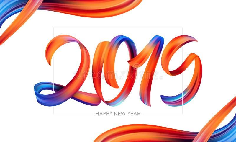 Иллюстрация вектора: Каллиграфия литерности краски Brushstroke 2019 счастливых Новых Годов Ультрамодный дизайн бесплатная иллюстрация