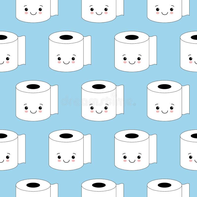 Иллюстрация вектора, картина туалетной бумаги безшовная Счастливые улыбки, стиль мультфильма, предпосылка Стиль Kawaii иллюстрация вектора