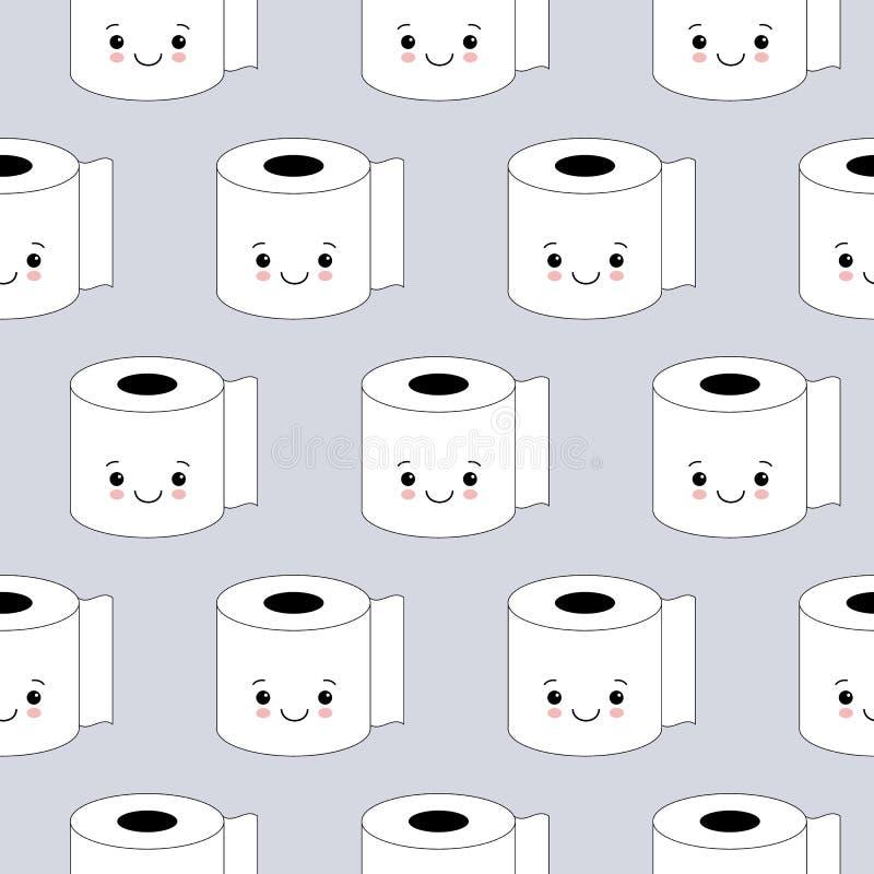 Иллюстрация вектора, картина туалетной бумаги безшовная Счастливые улыбки, стиль мультфильма, предпосылка r бесплатная иллюстрация