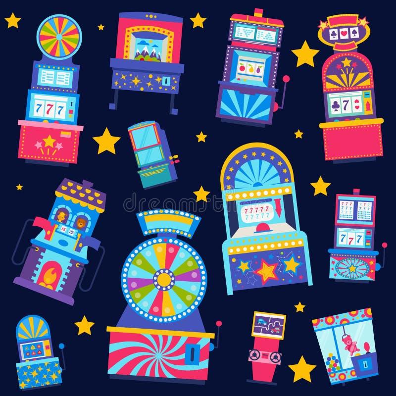 Иллюстрация вектора картины казино безшовная Джэкпот выигрыша в торговом автомате игры Здания казино, машина игры, удача иллюстрация вектора
