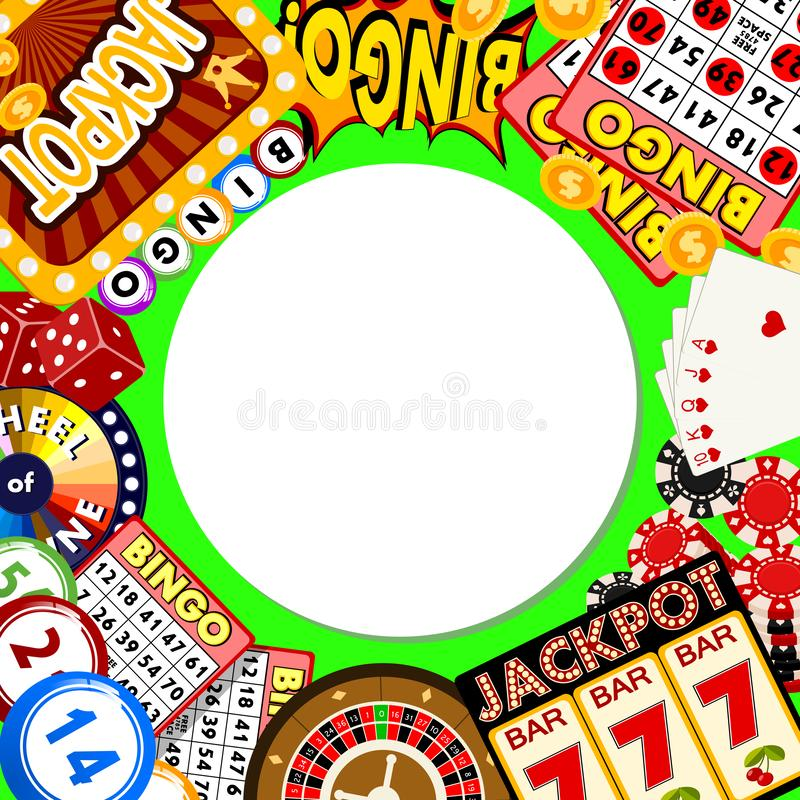 Иллюстрация вектора картины казино онлайн круглая Включает рулетку, обломоки казино, игральные карты, выигрывая деньги джэкпота иллюстрация вектора