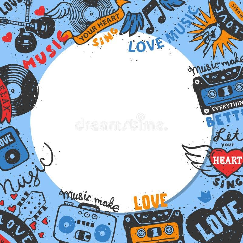 Иллюстрация вектора картины круга музыки любов Позвольте вашему сердцу спеть Музыка сделать все лучший Музыка любов Кассета иллюстрация штока