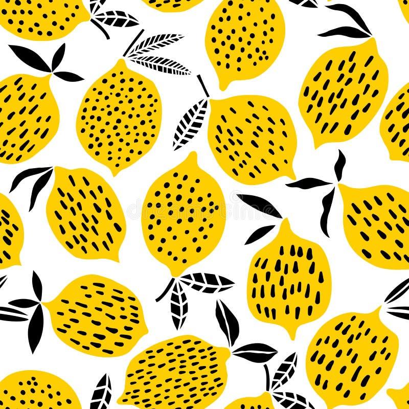 Иллюстрация вектора картины лимона безшовная Дизайн лета иллюстрация штока