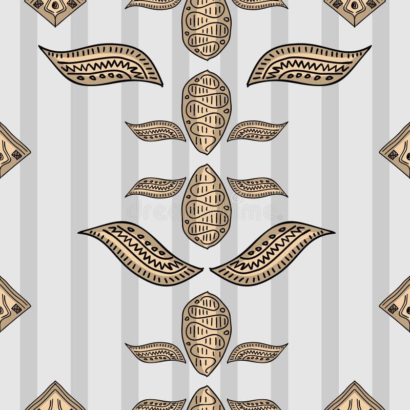 Иллюстрация вектора картины племенного батика этническая безшовная Цвета вычерченного культурного чертежа руки винтажные элегантн иллюстрация штока
