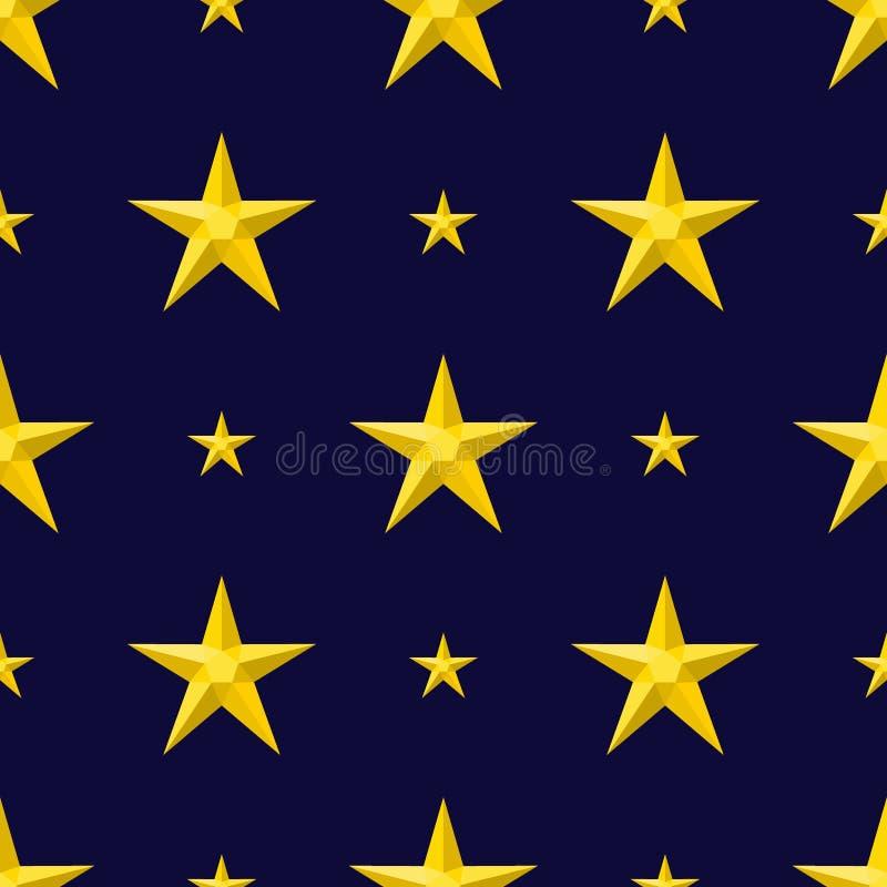 Иллюстрация вектора картины различной звезды силуэта формы стиля сияющей безшовная на голубой предпосылке иллюстрация вектора
