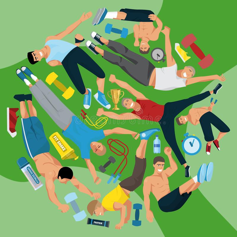 Иллюстрация вектора картины человека спортсмена круглая Тренировка веса Работать мужчины в различных представлениях Диаграммы чел иллюстрация штока