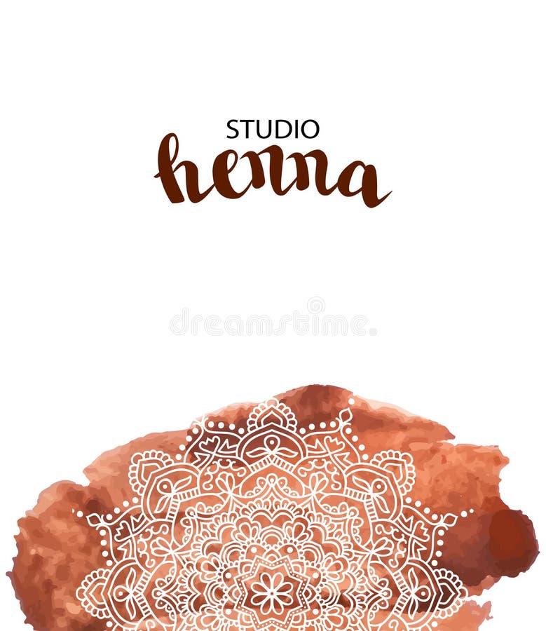 Иллюстрация вектора картины элемента дизайна для татуировки и mehendi Предпосылка краски акварели Брауна с ro белой руки вычерчен иллюстрация вектора