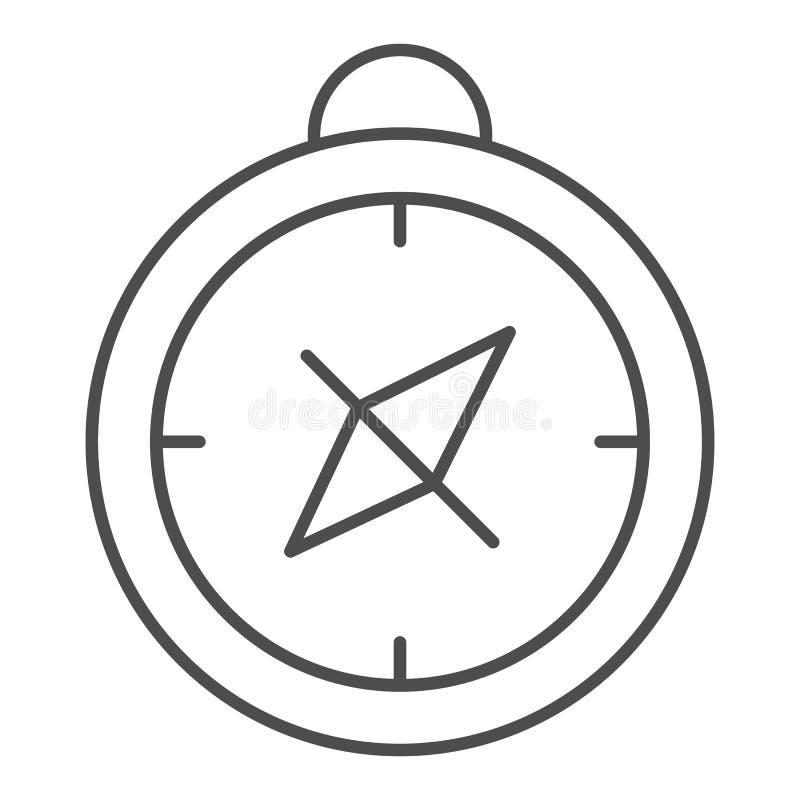 Линия значок компаса тонкая Иллюстрация вектора картоведения изолированная на белизне Дизайн стиля плана навигации, конструирован бесплатная иллюстрация