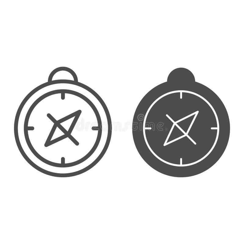 Линия компаса и значок глифа Иллюстрация вектора картоведения изолированная на белизне Дизайн стиля плана навигации иллюстрация вектора