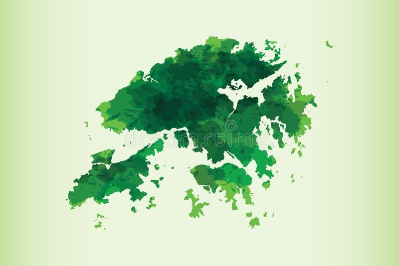 Иллюстрация вектора карты акварели Гонконга зеленого цвета на светлой предпосылке используя кисть в странице бумаги иллюстрация вектора
