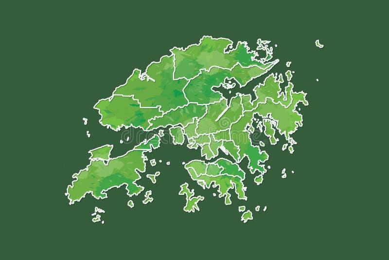 Иллюстрация вектора карты акварели Гонконга зеленого цвета с границами различных районов или разделений на темноте бесплатная иллюстрация