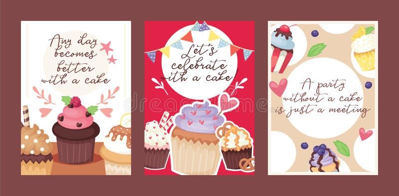 Иллюстрация вектора карты десерта торта пекарни дизайна плаката пирожного Дизайн предпосылки партии праздника булочки сладкий иллюстрация штока