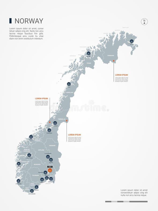 Иллюстрация вектора карты Норвегии infographic иллюстрация вектора