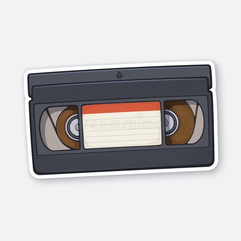 Иллюстрация вектора Кассета VHS Система записи видеокассеты Хранение аналоговой информации в ретро иллюстрация штока
