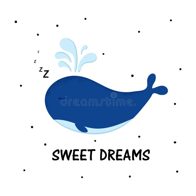 Иллюстрация вектора кита мультфильма сладкая Характер моря в современном плоском стиле иллюстрация вектора