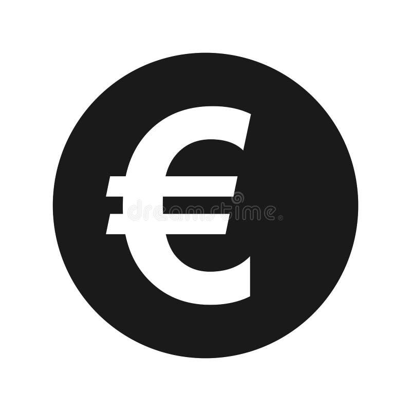 Иллюстрация вектора кнопки матовой черноты значка знака евро круглая бесплатная иллюстрация