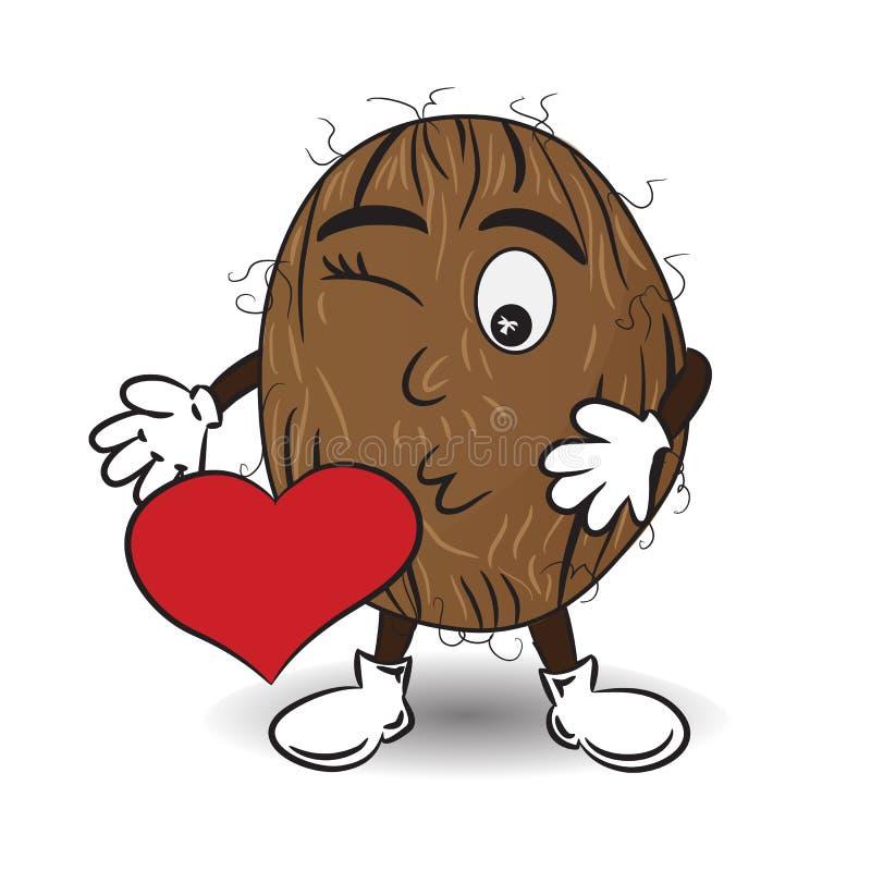 Иллюстрация вектора кокоса посылает поцелуй с красным сердцем иллюстрация вектора