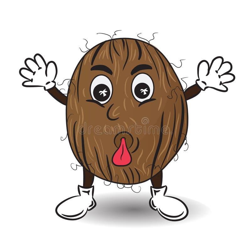 Иллюстрация вектора кокоса с языком иллюстрация штока