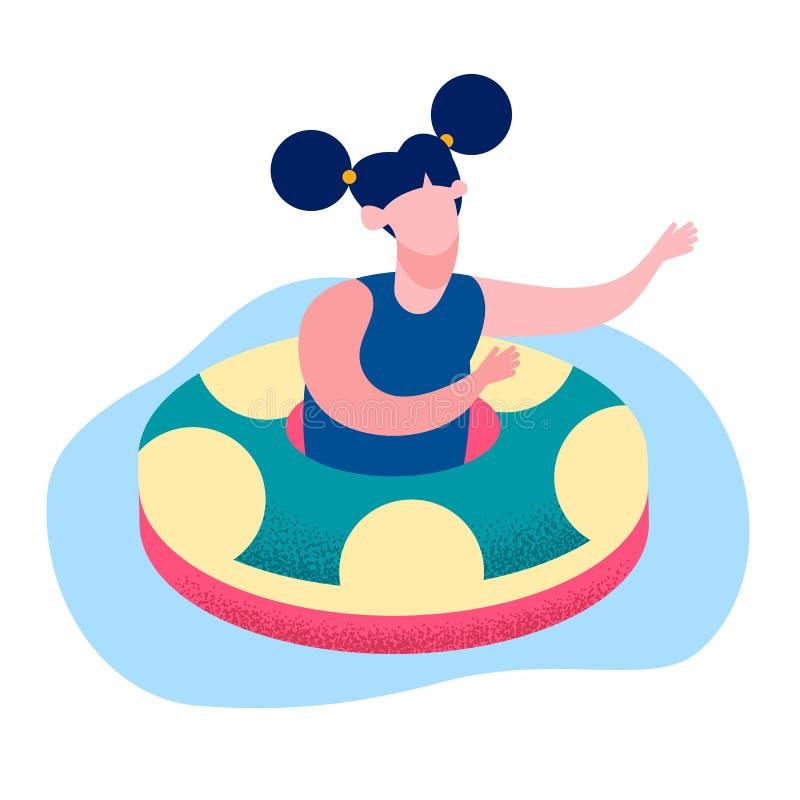 Иллюстрация вектора кольца маленькой девочки плавая плоская бесплатная иллюстрация