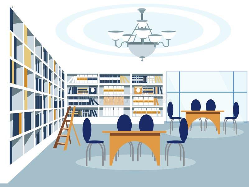 Иллюстрация вектора комнаты здания библиотеки внутренняя плоско бесплатная иллюстрация