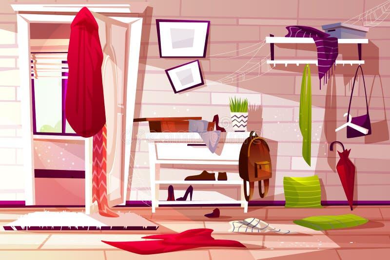 Иллюстрация вектора комнаты прихожей грязная внутренняя иллюстрация вектора