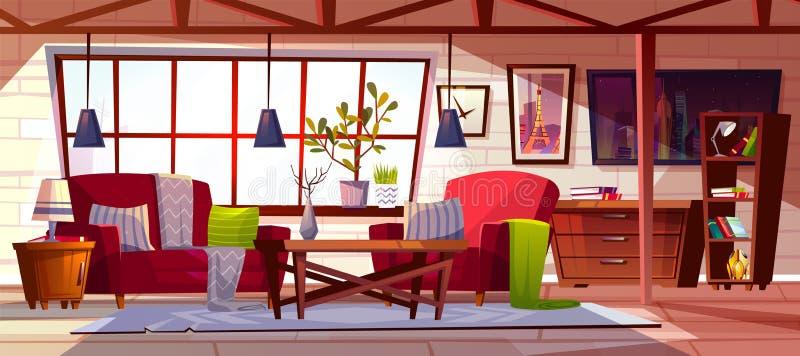 Иллюстрация вектора комнаты салона просторной квартиры внутренняя иллюстрация вектора