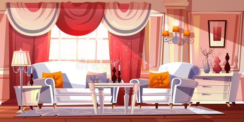 Иллюстрация вектора комнаты салона роскошная внутренняя иллюстрация штока