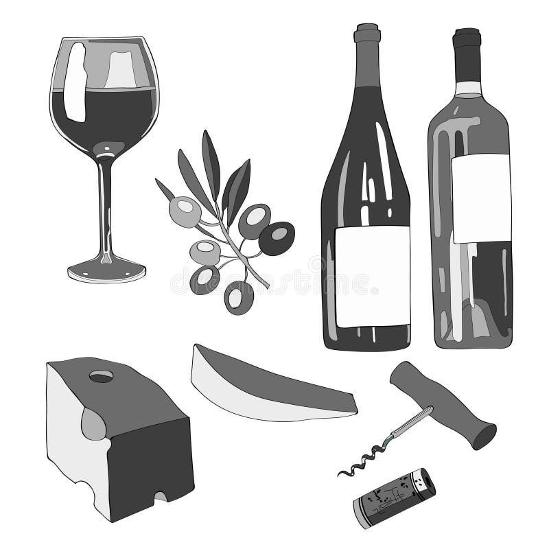 Иллюстрация вектора, комплект Вино, бокал вина, зеленая бутылка вина, бутылка красного вина, ветвь оливки, часть сыра, иллюстрация вектора
